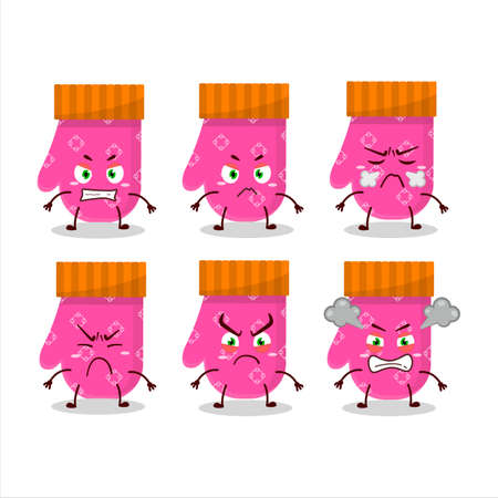 Pink gloves cartoon character with various angry expressions