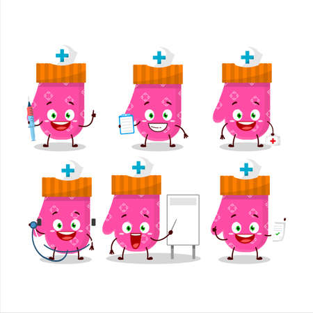 Doctor profession emoticon with pink gloves cartoon character