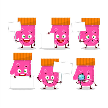 Pink gloves cartoon character bring information board 矢量图像