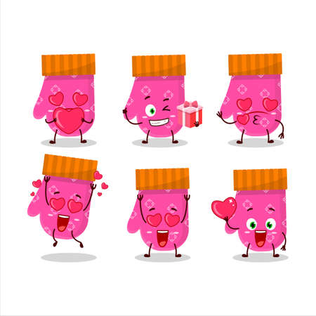 Pink gloves cartoon character with love cute emoticon