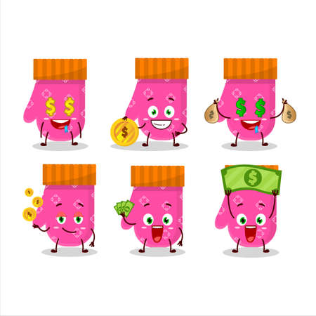 Pink gloves cartoon character with cute emoticon bring money Illustration