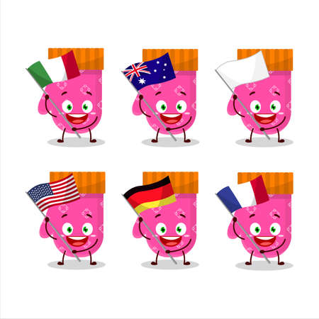 Pink gloves cartoon character bring the flags of various countries Illustration