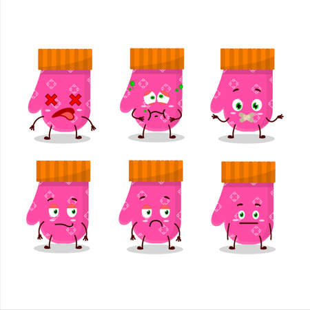 Pink gloves cartoon character with nope expression Illustration