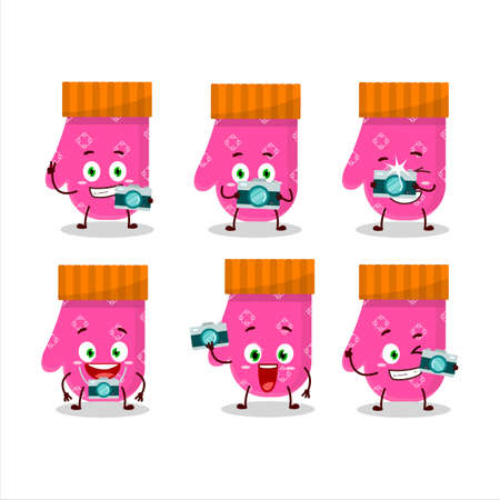 Photographer profession emoticon with pink gloves cartoon character