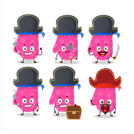 Cartoon character of pink gloves with various pirates emoticons Illustration