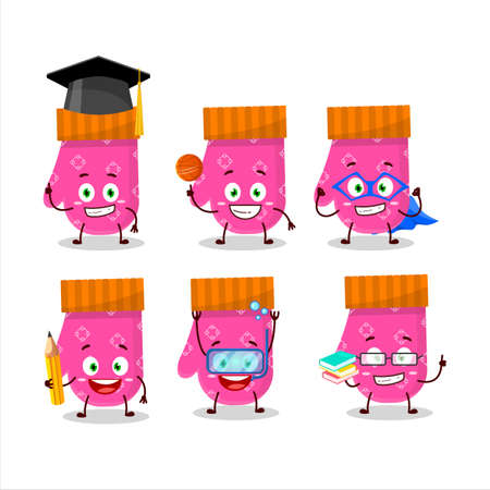 School student of pink gloves cartoon character with various expressions Illustration
