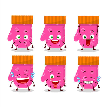 Cartoon character of pink gloves with smile expression