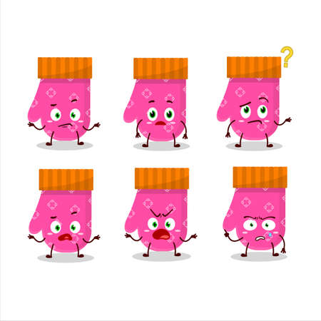 Cartoon character of pink gloves with what expression