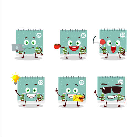 20th december calendar cartoon character with various types of business emoticons Illustration