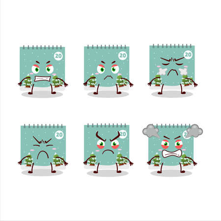 20th december calendar cartoon character with various angry expressions