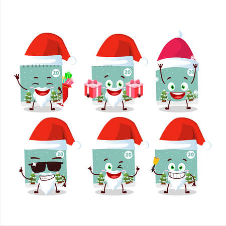 Santa Claus emoticons with 20th december calendar cartoon character