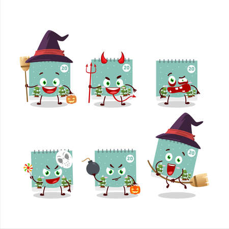 Halloween expression emoticons with cartoon character of 20th december calendar Vettoriali