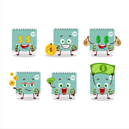 20th december calendar cartoon character with cute emoticon bring money