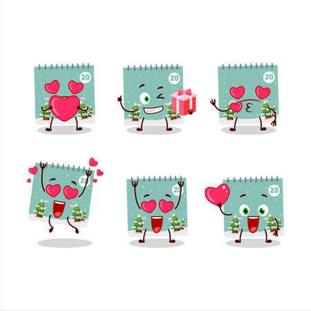 20th december calendar cartoon character with love cute emoticon