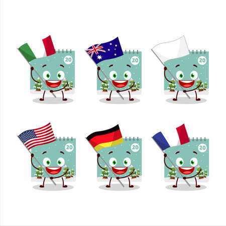 20th december calendar cartoon character bring the flags of various countries.Vector illustration