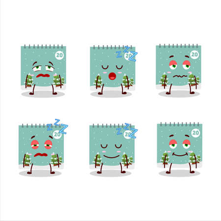 Cartoon character of 20th december calendar with sleepy expression 向量圖像