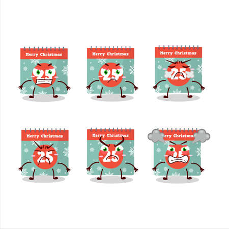 25th december calendar cartoon character with various angry expressions