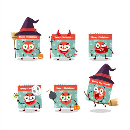 Halloween expression emoticons with cartoon character of 25th december calendar Vettoriali