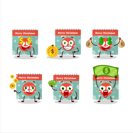 25th december calendar cartoon character with cute emoticon bring money