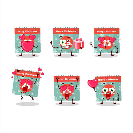25th december calendar cartoon character with love cute emoticon Vettoriali