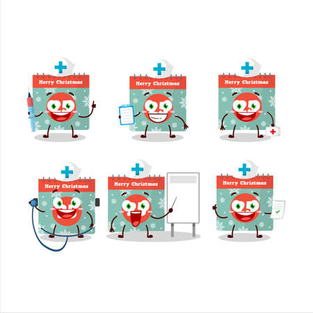 Doctor profession emoticon with 25th december calendar cartoon character