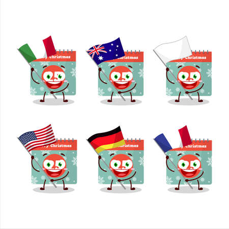 25th december calendar cartoon character bring the flags of various countries