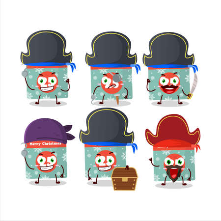 Cartoon character of 25th december calendar with various pirates emoticons