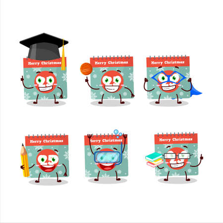 School student of 25th december calendar cartoon character with various expressions Vettoriali