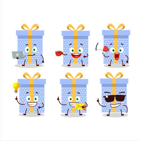 Blue christmas gift cartoon character with various types of business emoticons
