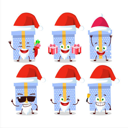 Santa Claus emoticons with blue christmas gift cartoon character Vettoriali