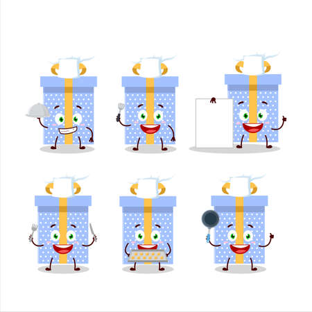 Cartoon character of blue christmas gift with various chef emoticons