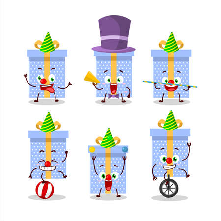 Cartoon character of blue christmas gift with various circus shows