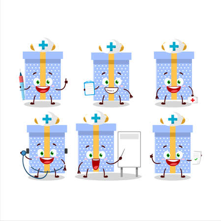 Doctor profession emoticon with blue christmas gift cartoon character Vettoriali