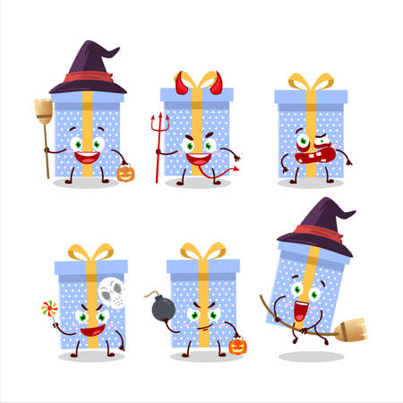 Halloween expression emoticons with cartoon character of blue christmas gift Vettoriali