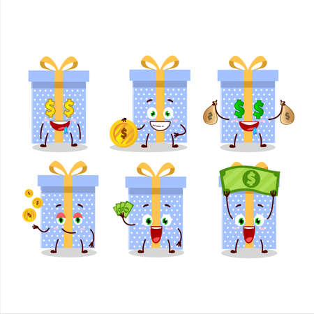 Blue christmas gift cartoon character with cute emoticon bring money