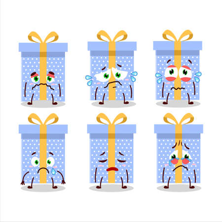 Blue christmas gift cartoon character with sad expression
