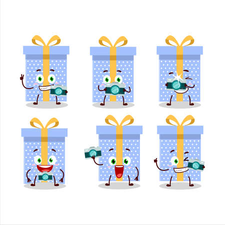 Photographer profession emoticon with blue christmas gift cartoon character