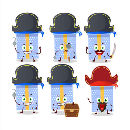 Cartoon character of blue christmas gift with various pirates emoticons