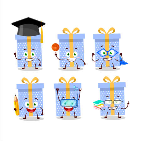 School student of blue christmas gift cartoon character with various expressions Illustration