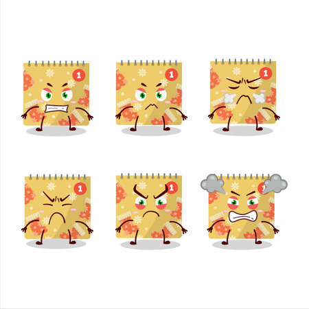 1st december calendar cartoon character with various angry expressions