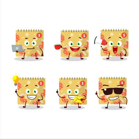 1st december calendar cartoon character with various types of business emoticons