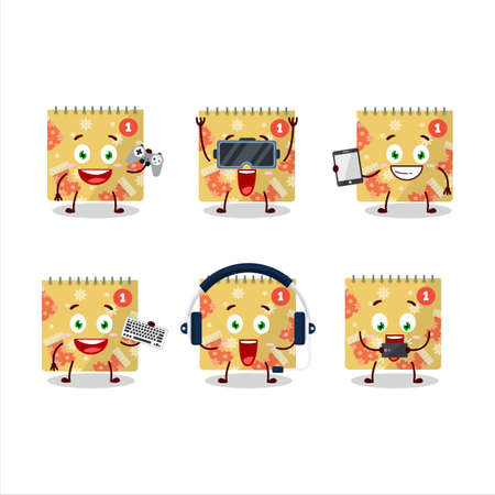 1st december calendar cartoon character are playing games with various cute emoticons