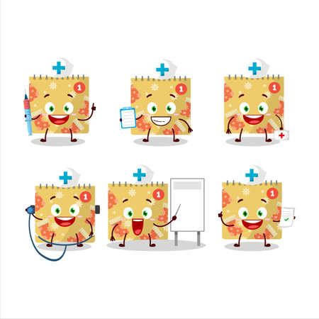 Doctor profession emoticon with 1st december calendar cartoon character Illustration