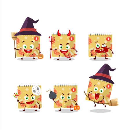 Halloween expression emoticons with cartoon character of 1st december calendar