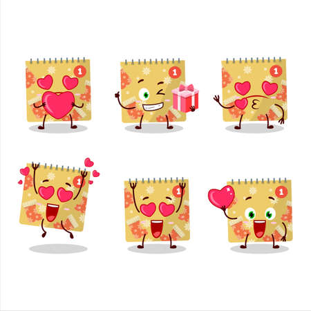 1st december calendar cartoon character with love cute emoticon Illustration