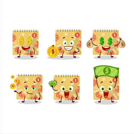 1st december calendar cartoon character with cute emoticon bring money