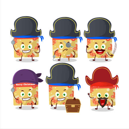 Cartoon character of 1st december calendar with various pirates emoticons Vettoriali