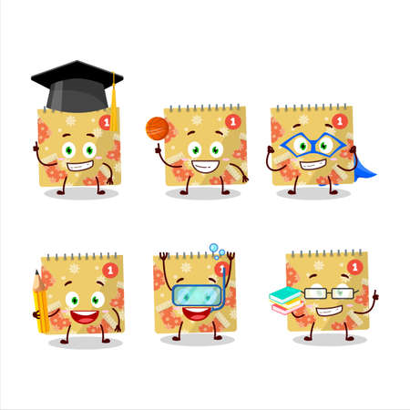 School student of 1st december calendar cartoon character with various expressions