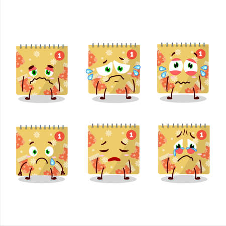 1st december calendar cartoon character with sad expression