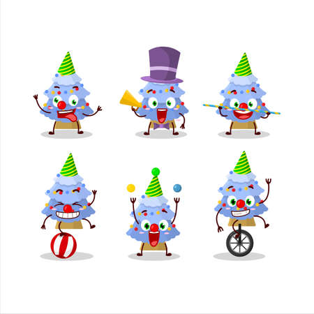 Cartoon character of blue christmas tree with various circus shows Vector Illustratie